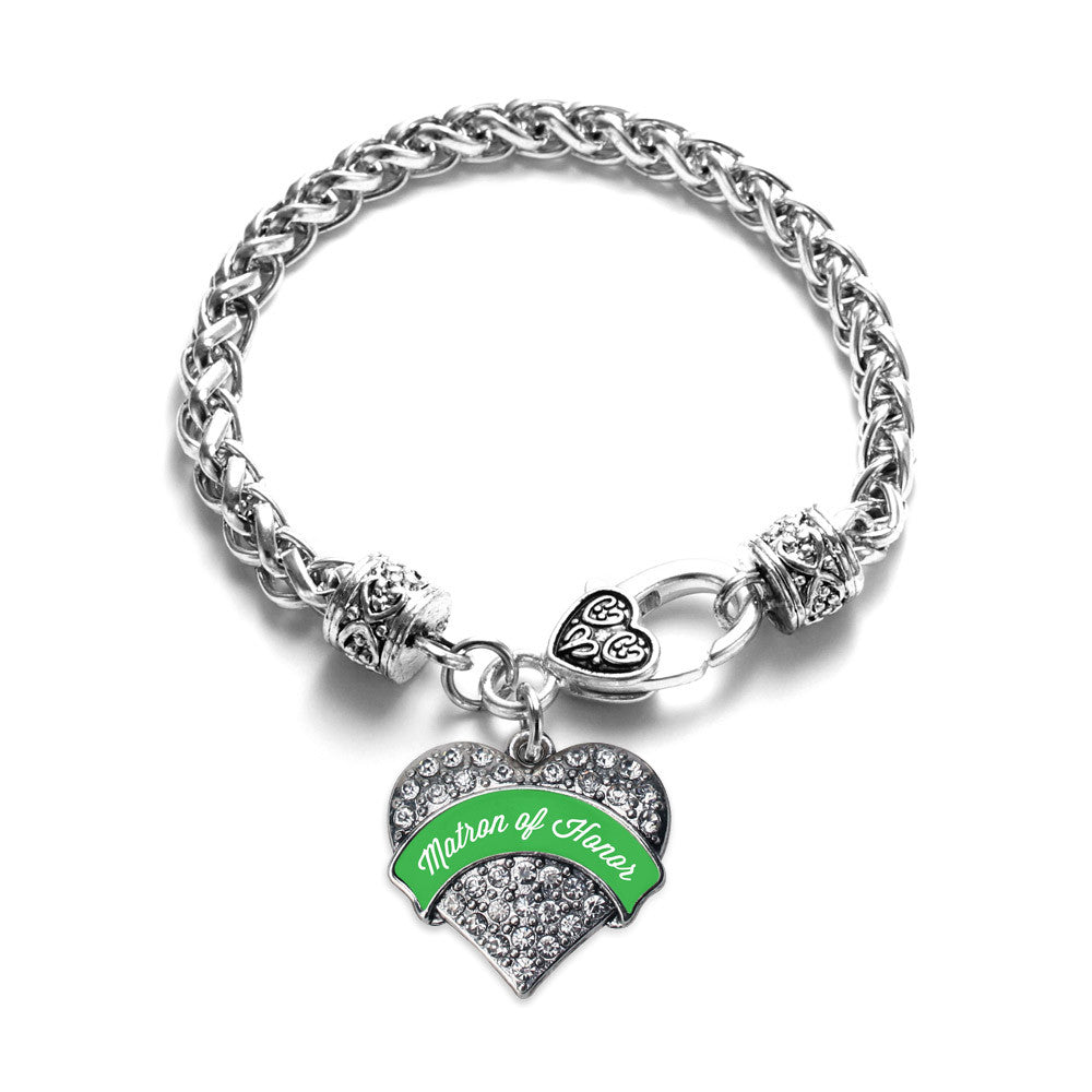 Emerald Green Matron Pave Heart Charm