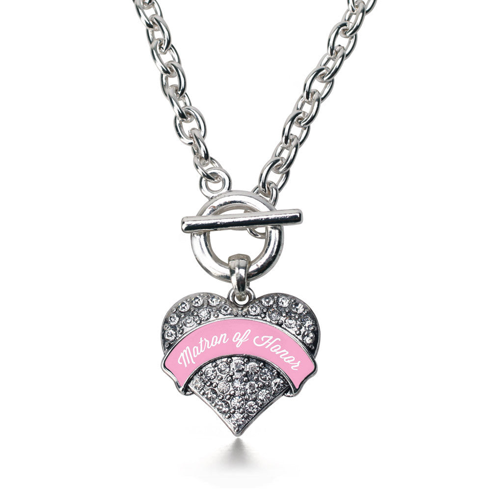 Light Pink Matron  Pave Heart Charm