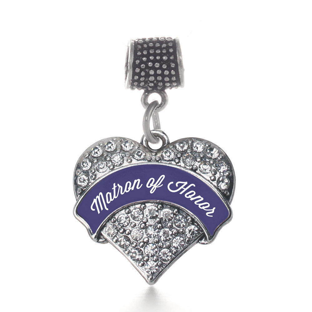 Navy Blue Matron Pave Heart Charm
