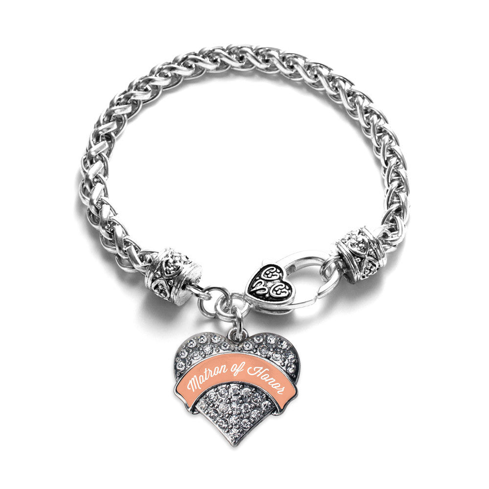 Peach Matron of Honor Pave Heart Charm