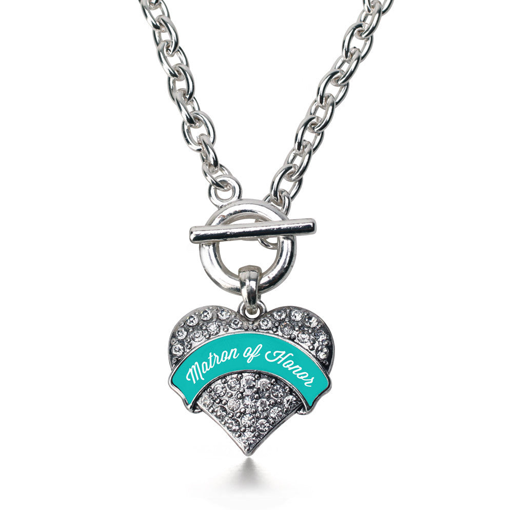 Teal Matron Pave Heart Charm