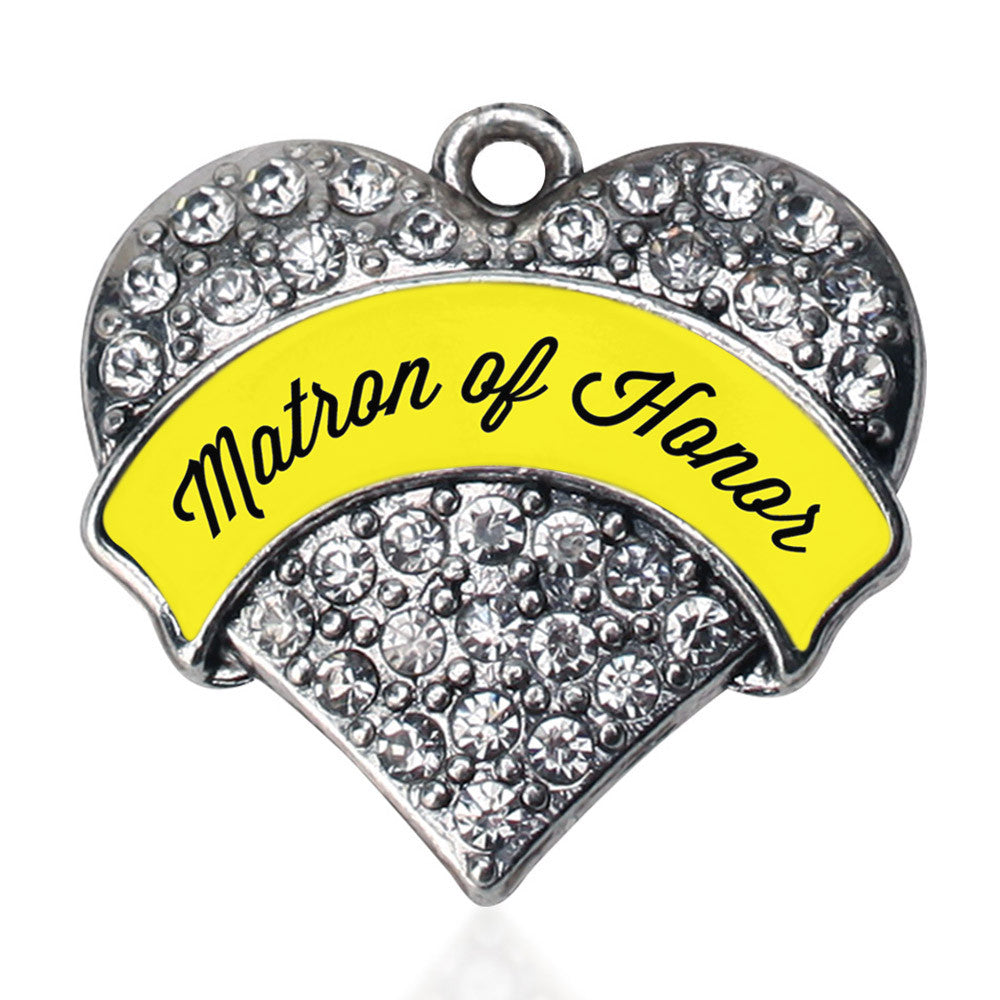 Yellow Matron Pave Heart Charm
