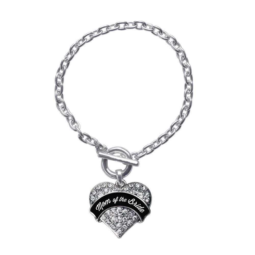 Black and White Mom of the Bride Pave Heart Charm