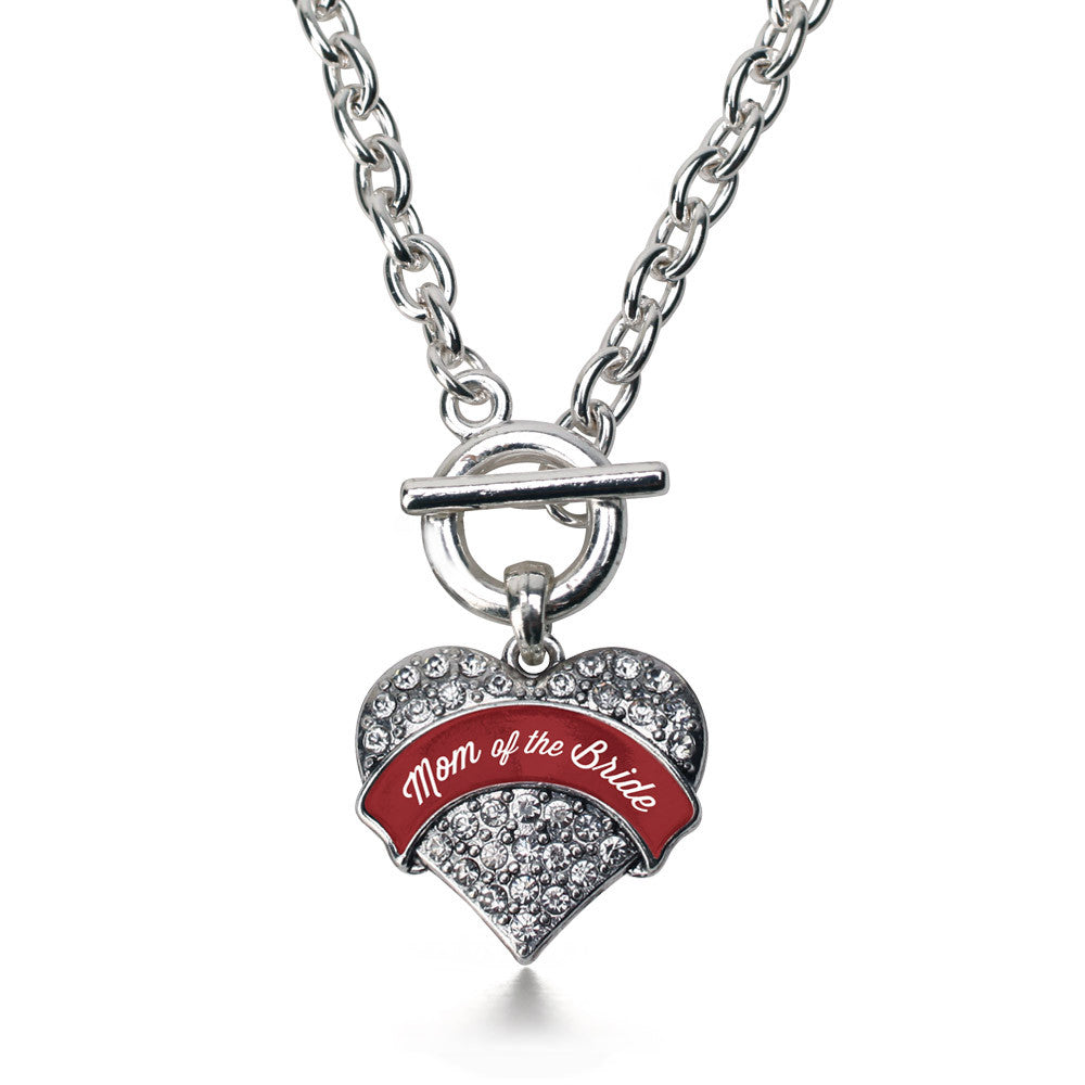 Crimson Red Mom of the Bride Pave Heart Charm