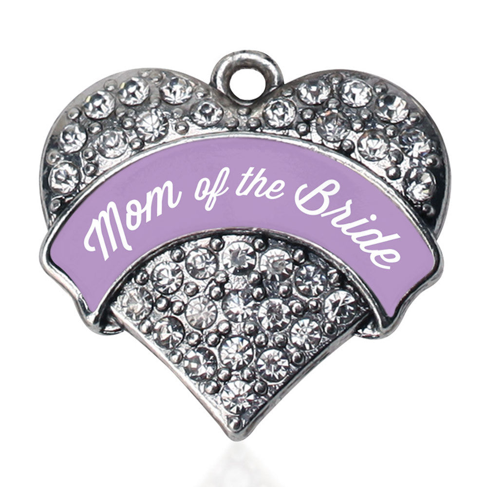 Lavender Mom of the Bride  Pave Heart Charm