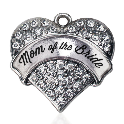 Silver Mom of the Bride Pave Heart Charm