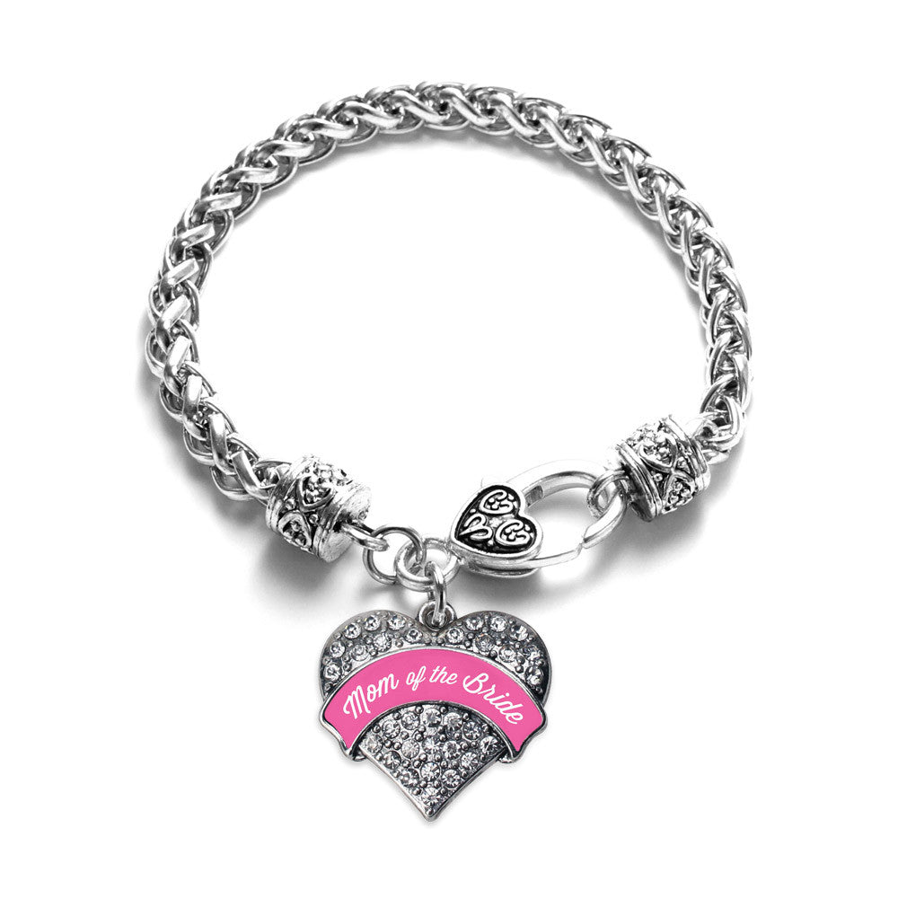 Pink Mom of the Bride Pave Heart Charm