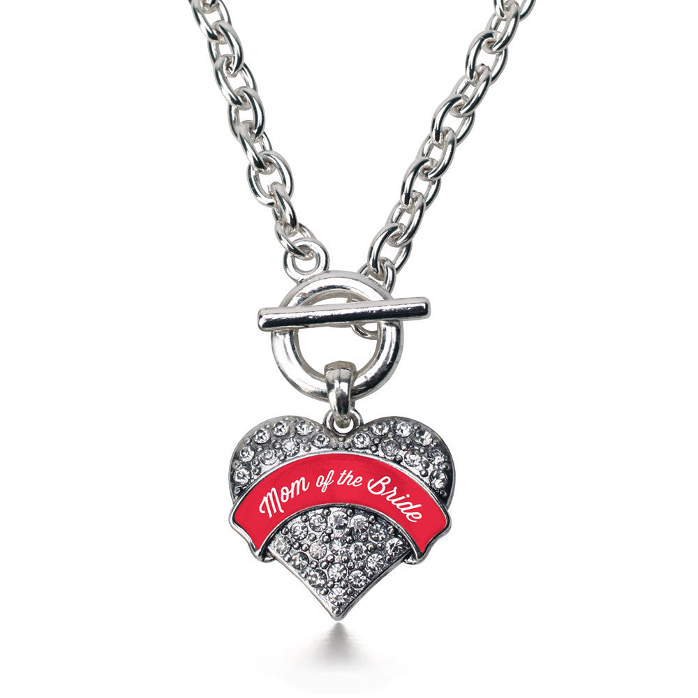 Red Mom of the Bride Pave Heart Charm