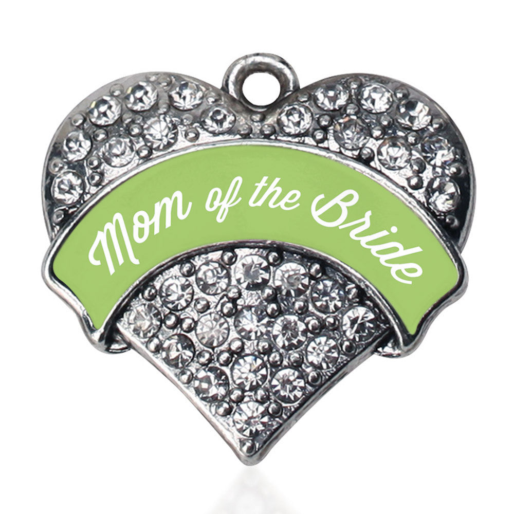 Sage Green Mom of the Bride Pave Heart Charm