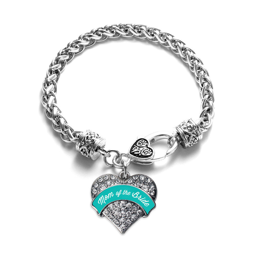 Teal Mom of the Bride  Pave Heart Charm