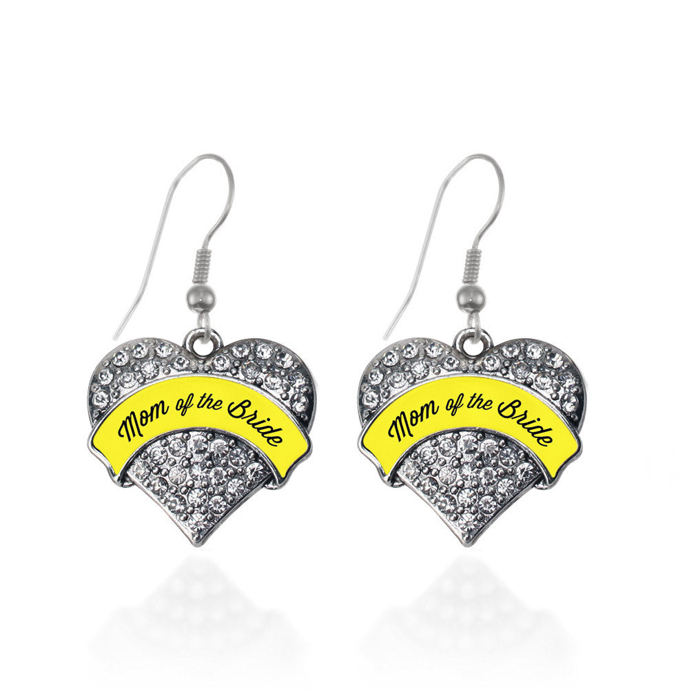 Yellow Mom of the Bride  Pave Heart Charm