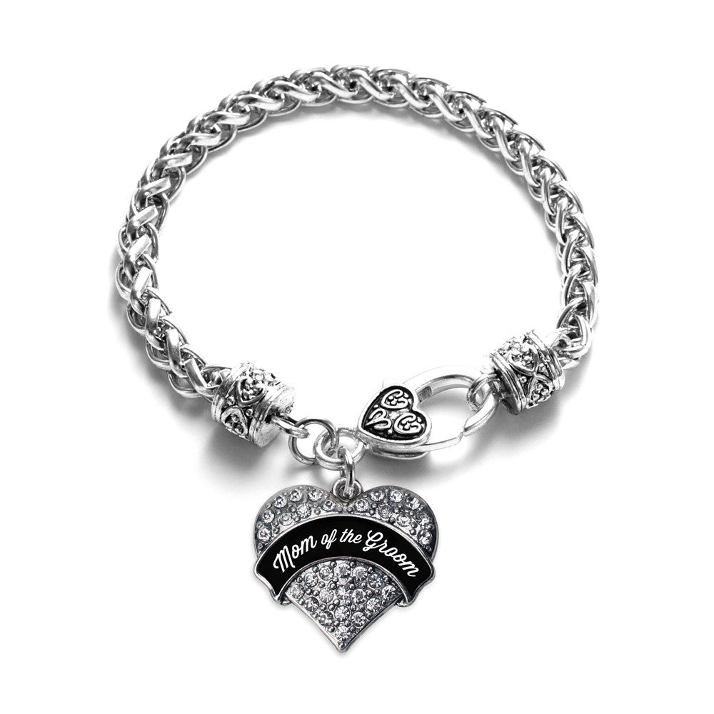 Black and White Mom of the Groom Pave Heart Charm