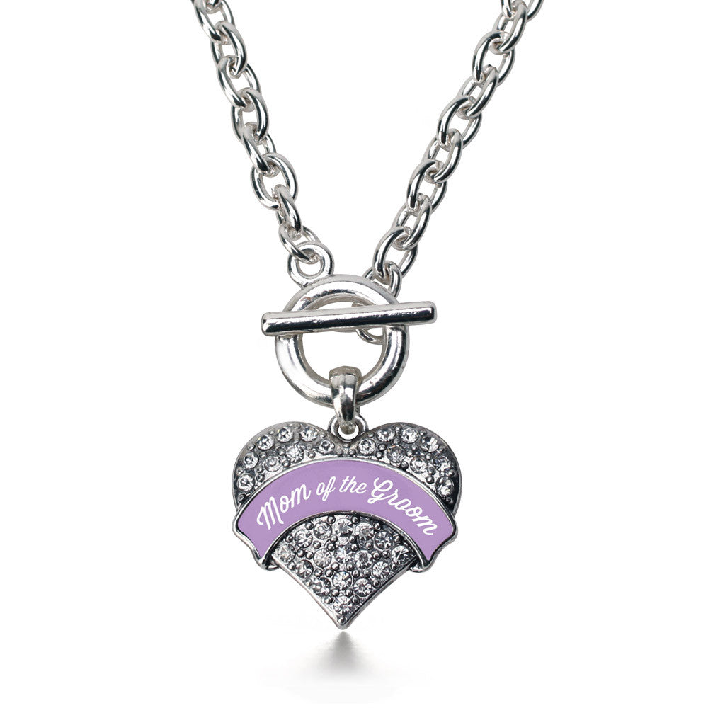 Lavender Mom of the Groom Pave Heart Charm