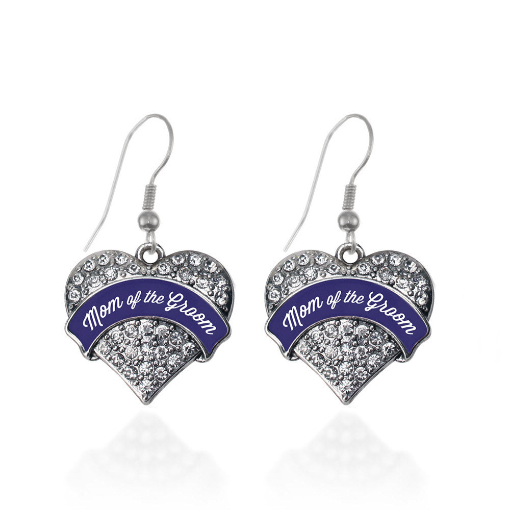 Navy Blue Mom of the Groom Pave Heart Charm