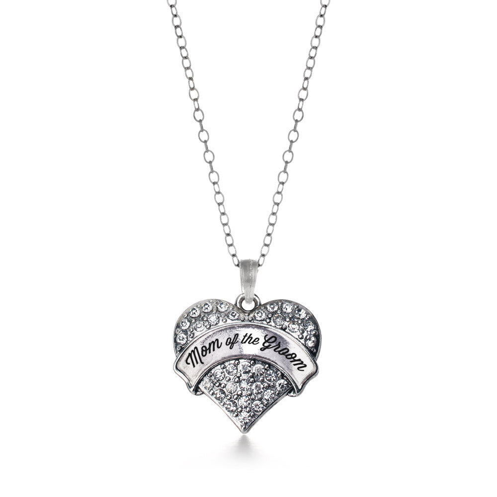 Silver Mom of the Groom Pave Heart Charm