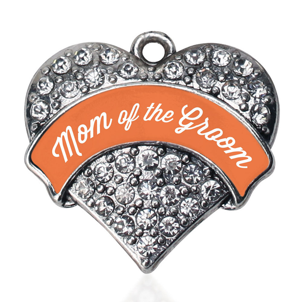 Orange Mom of the Groom Pave Heart Charm