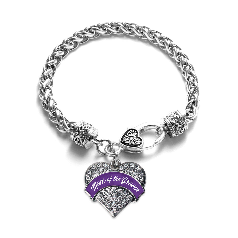 Purple Mom of the Groom Pave Heart Charm