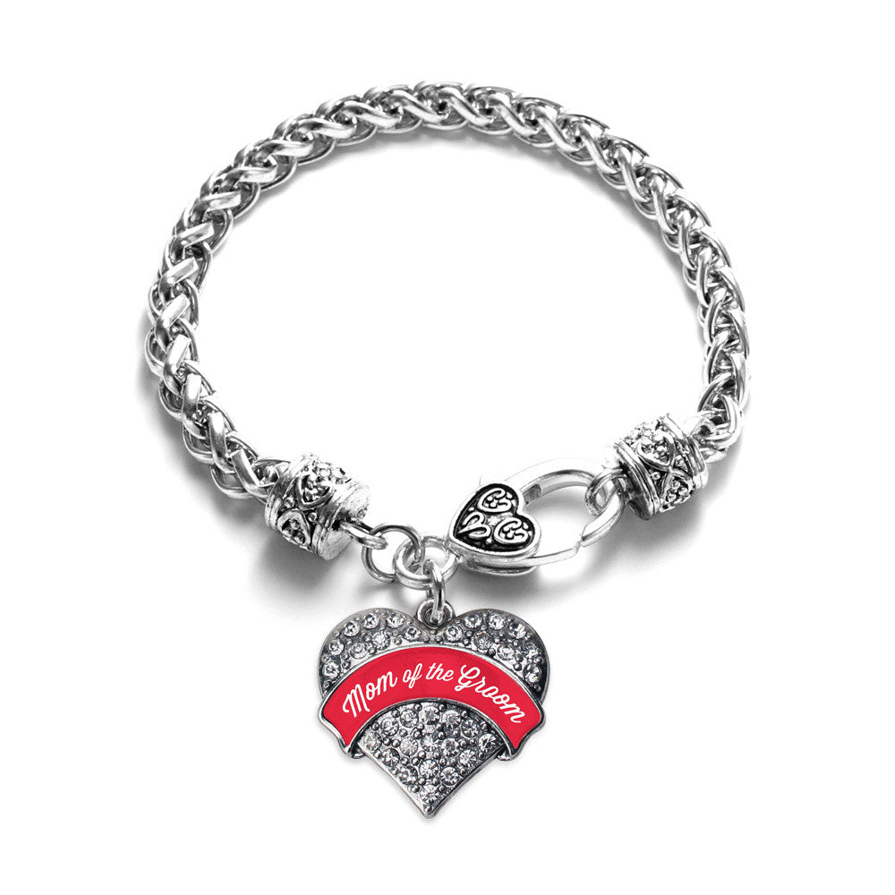 Red Mom of the Groom Pave Heart Charm