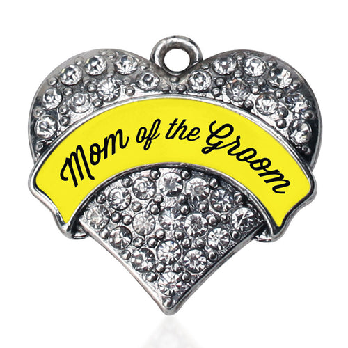 Yellow Mom of the Groom Pave Heart Charm