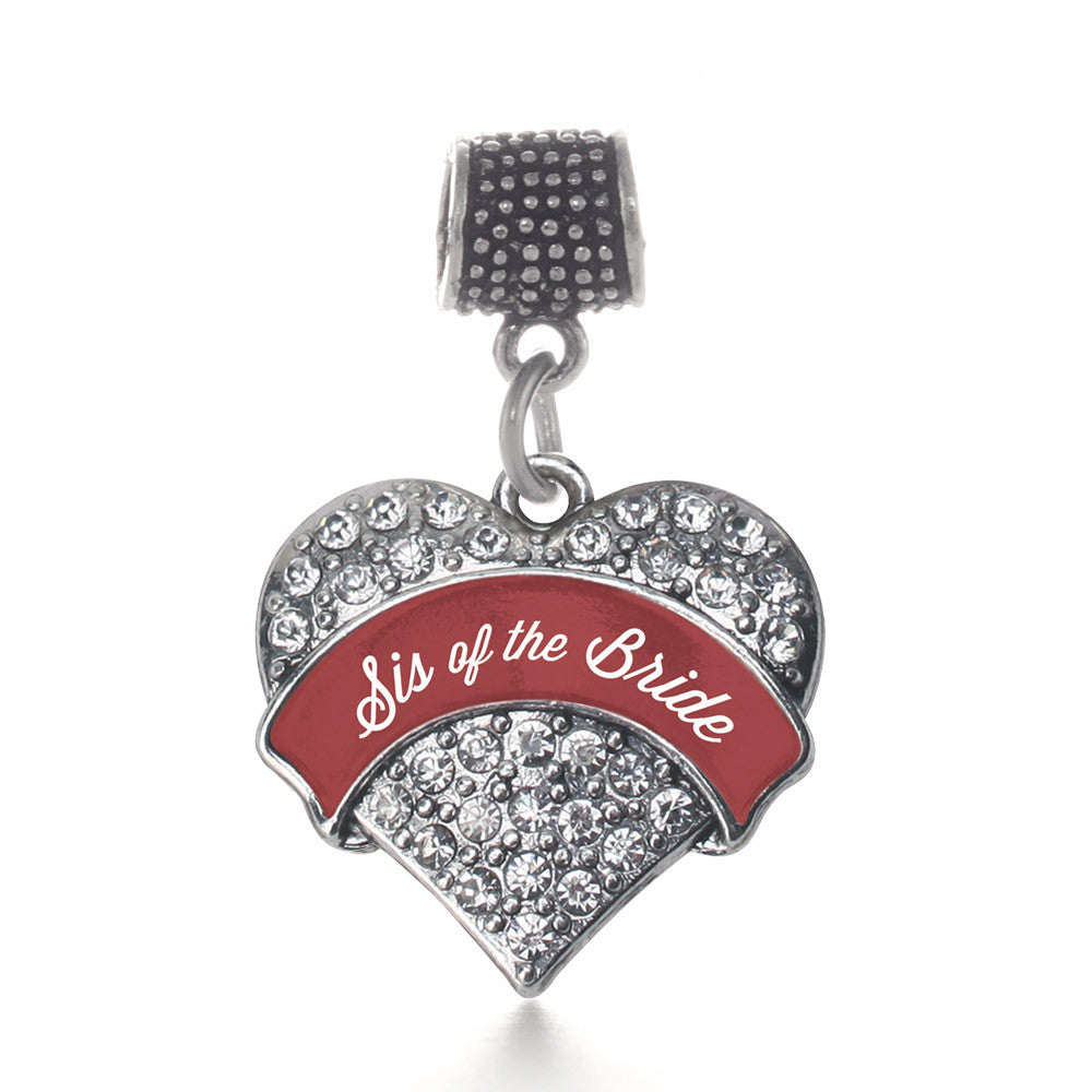 Crimson Red Sis of the Bride Pave Heart Charm