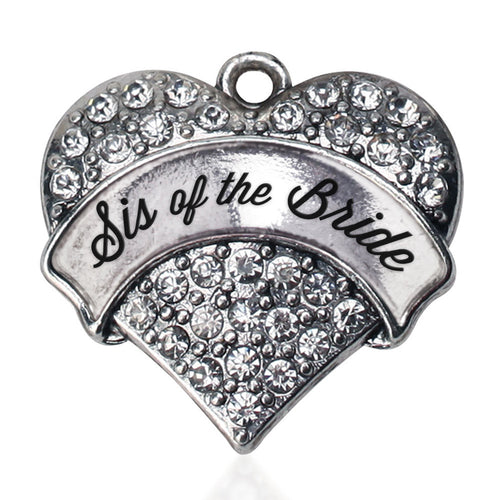 Silver Sis of the Bride Pave Heart Charm