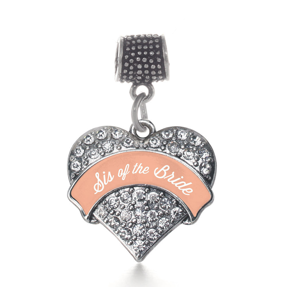 Peach Sis of the Bride  Pave Heart Charm