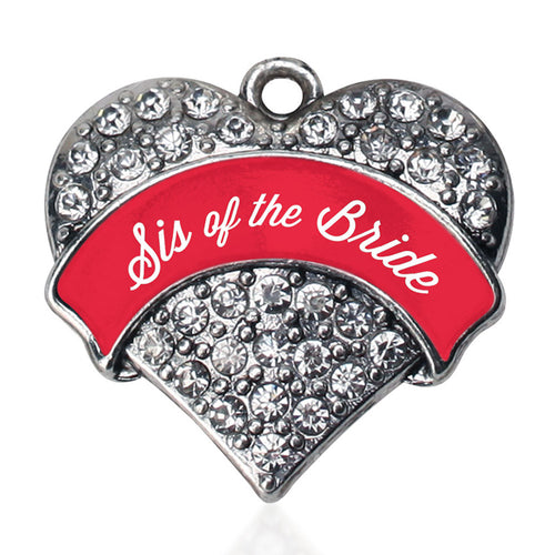 Red Sis of the Bride Pave Heart Charm