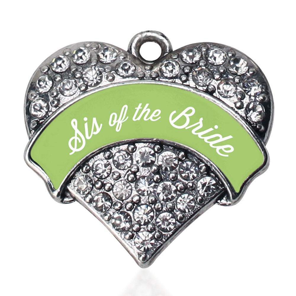 Sage Green Sis of the Bride Pave Heart Charm