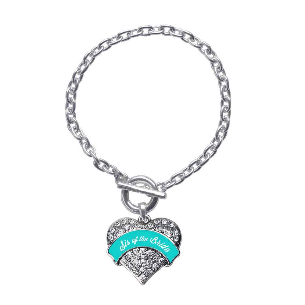 Teal Sis of the Bride  Pave Heart Charm