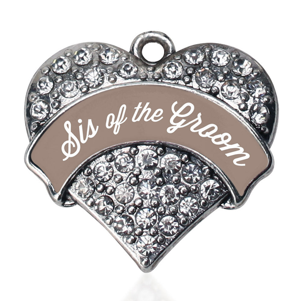 Brown and White Sis of the Groom Pave Heart Charm