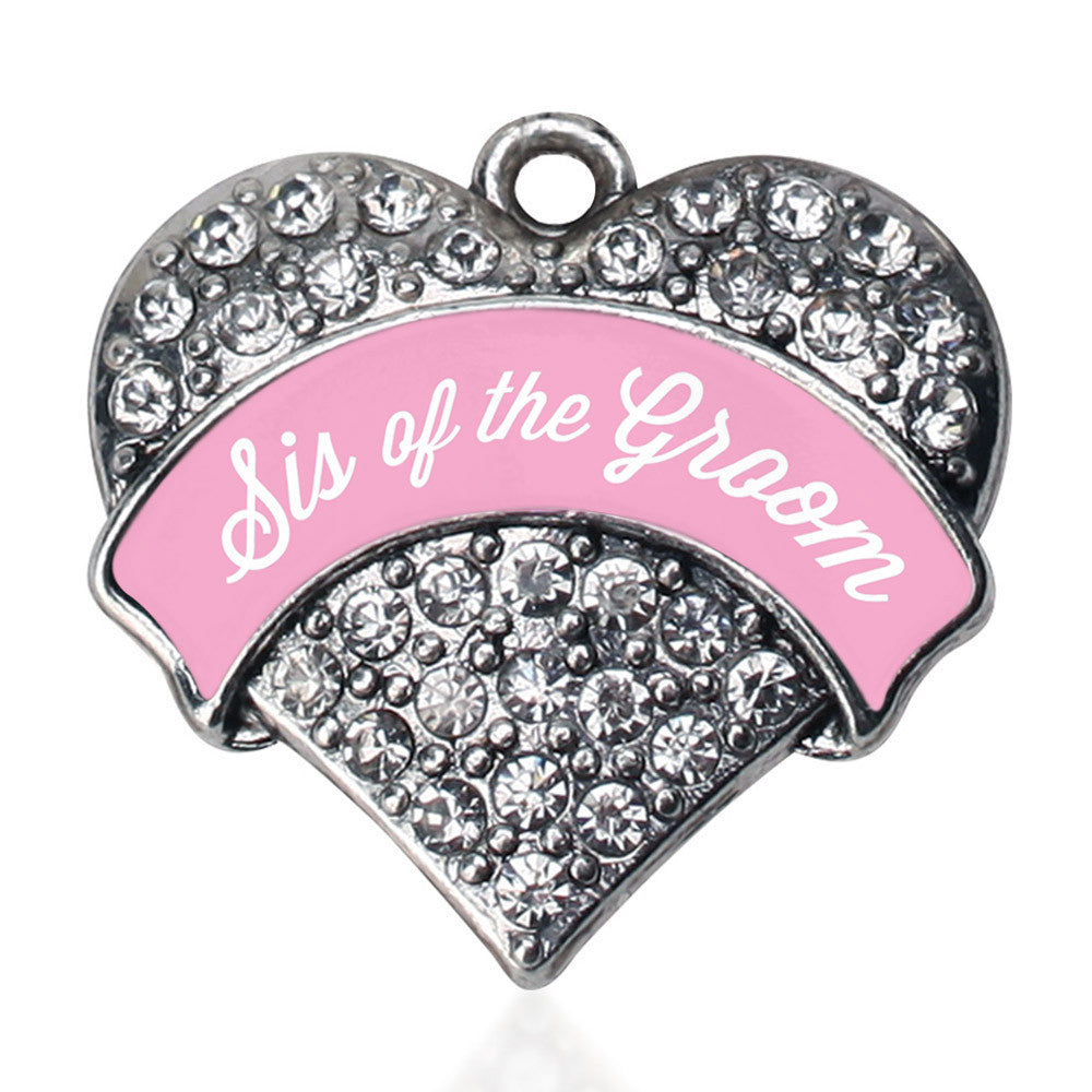 Light Pink Sis of the Groom Pave Heart Charm