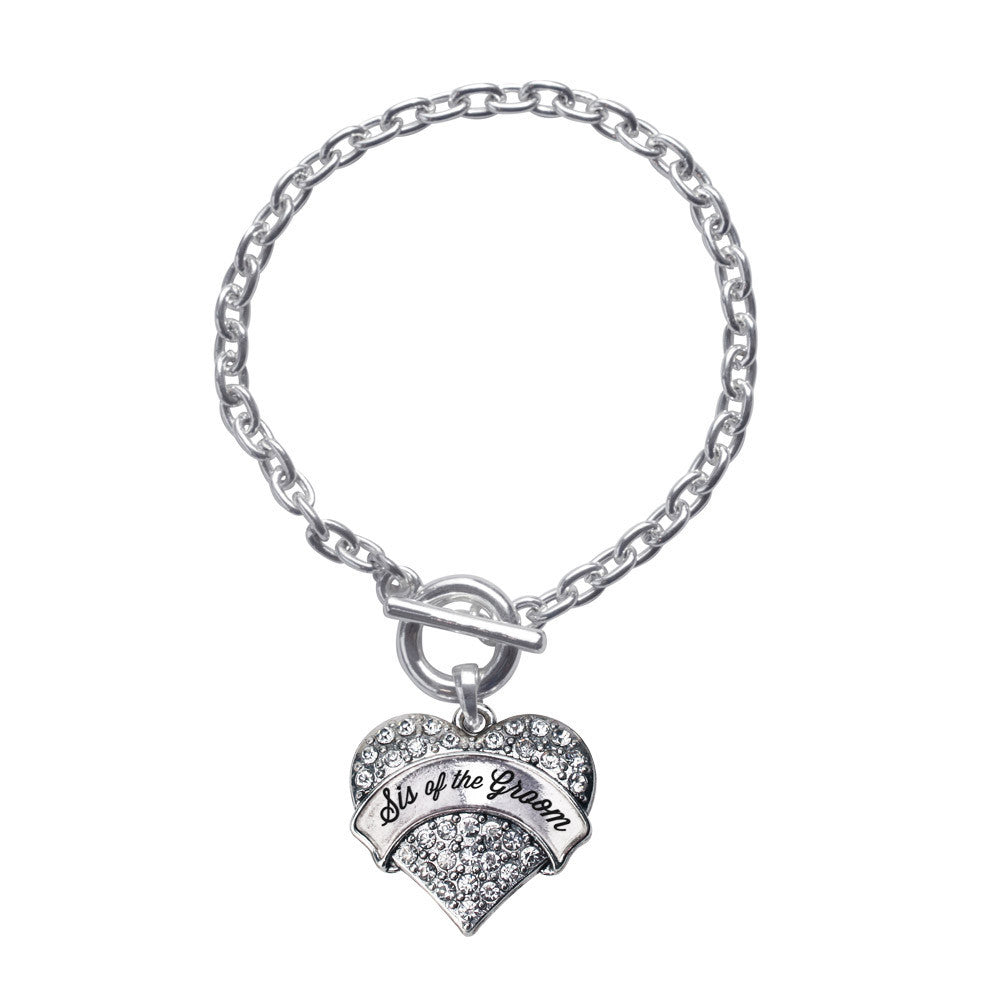 Silver Sis of the Groom Pave Heart Charm