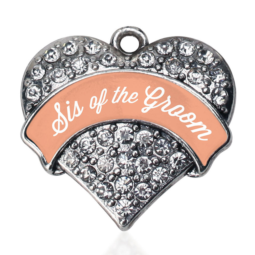 Peach Sis of the Groom Pave Heart Charm