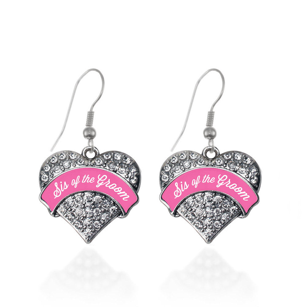 Pink Sis of the Groom  Pave Heart Charm