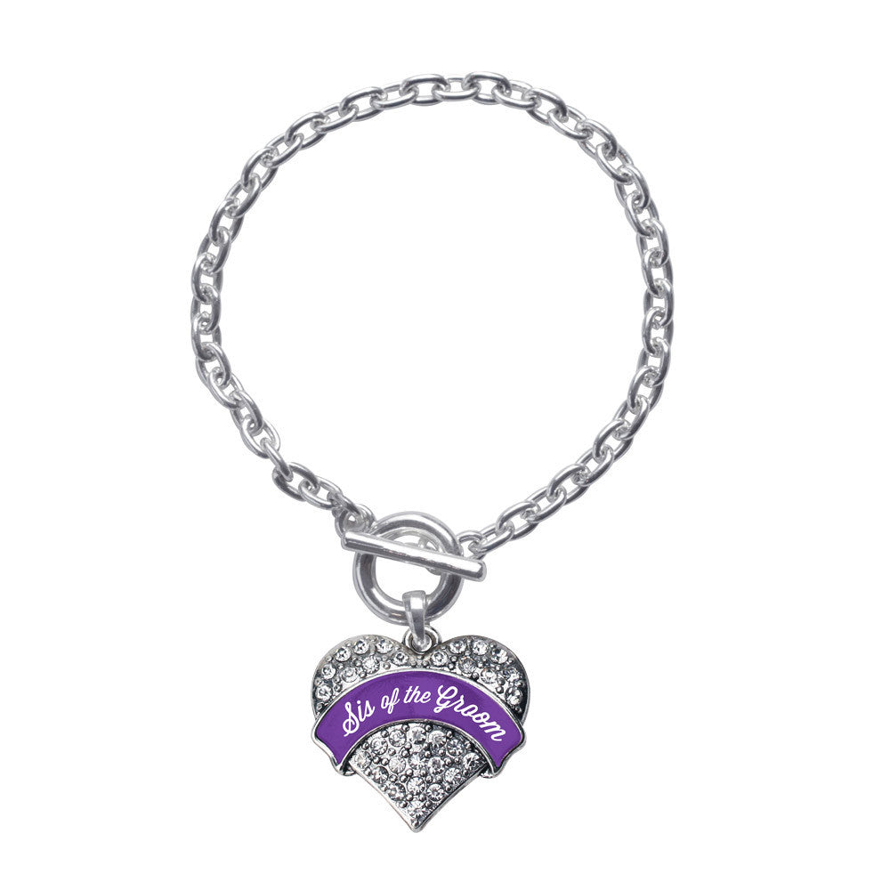 Purple Sis of the Groom  Pave Heart Charm