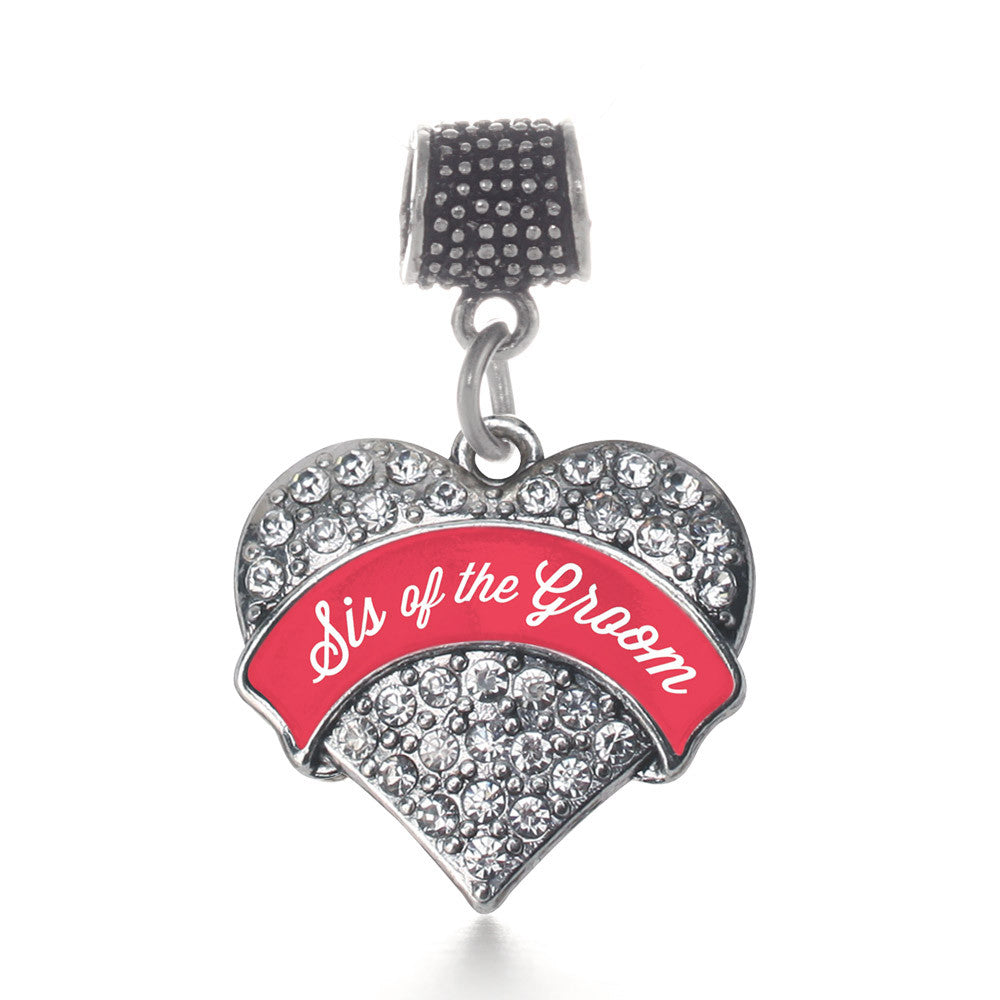 Red Sis of the Groom  Pave Heart Charm