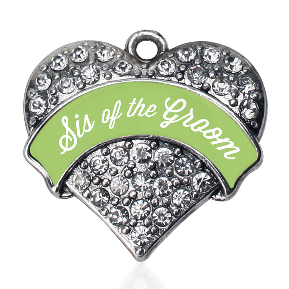 Sage Green Sis of the Groom Pave Heart Charm