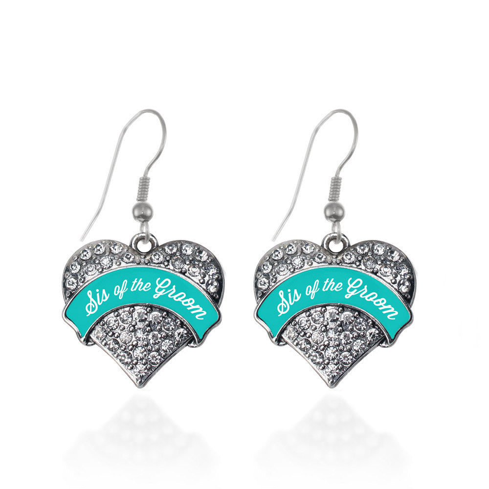 Teal Sis of the Groom Pave Heart Charm
