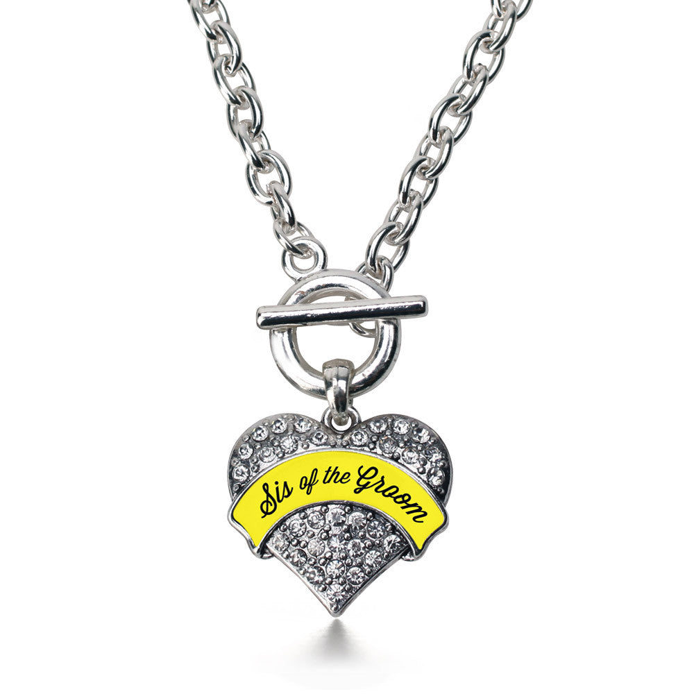 Yellow Sis of the Groom Pave Heart Charm