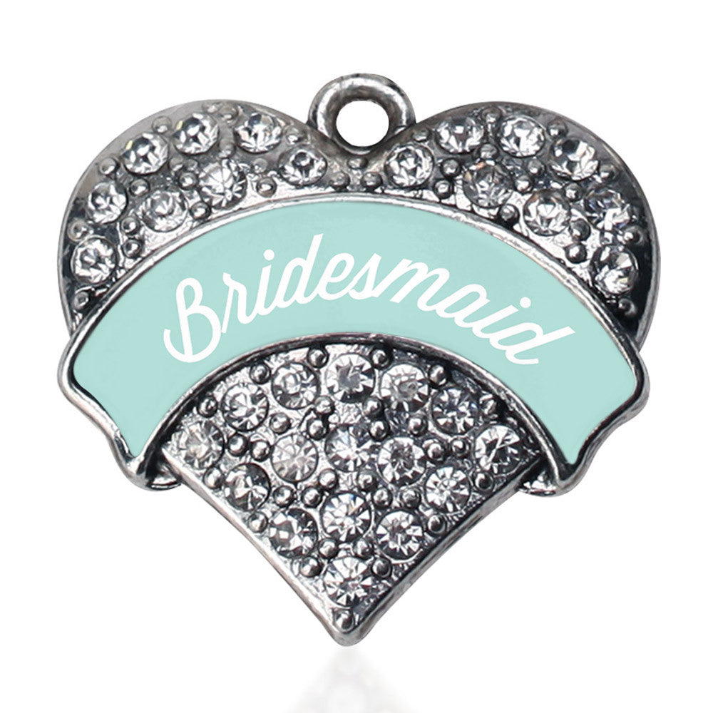 Mint Bridesmaid Pave Heart Charm
