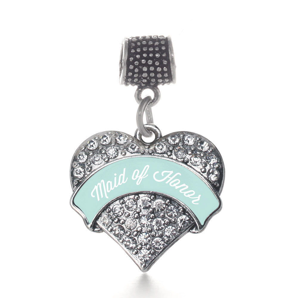 Mint Maid of Honor Pave Heart Charm