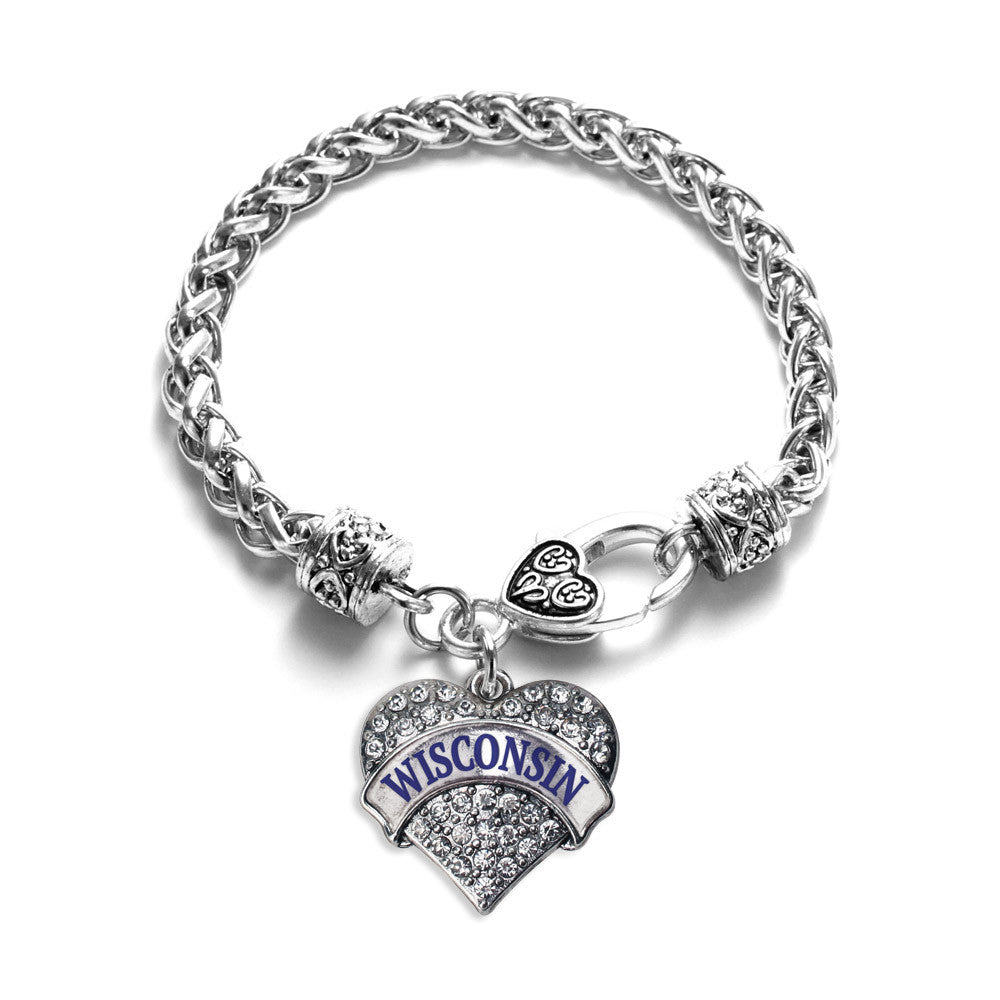 Wisconsin Pave Heart Charm