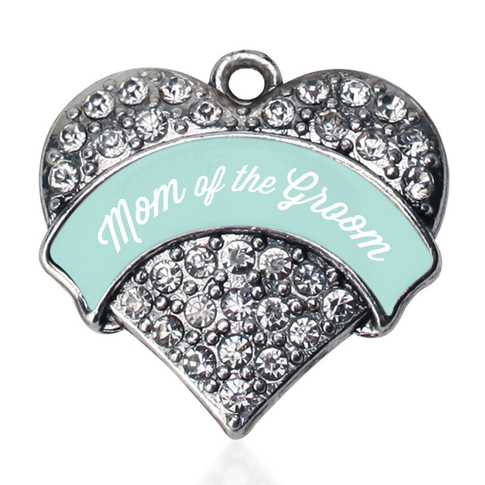 Mint Mom of Groom  Pave Heart Charm