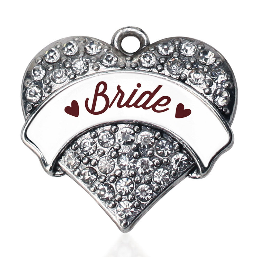 Burgundy Bride Pave Heart Charm