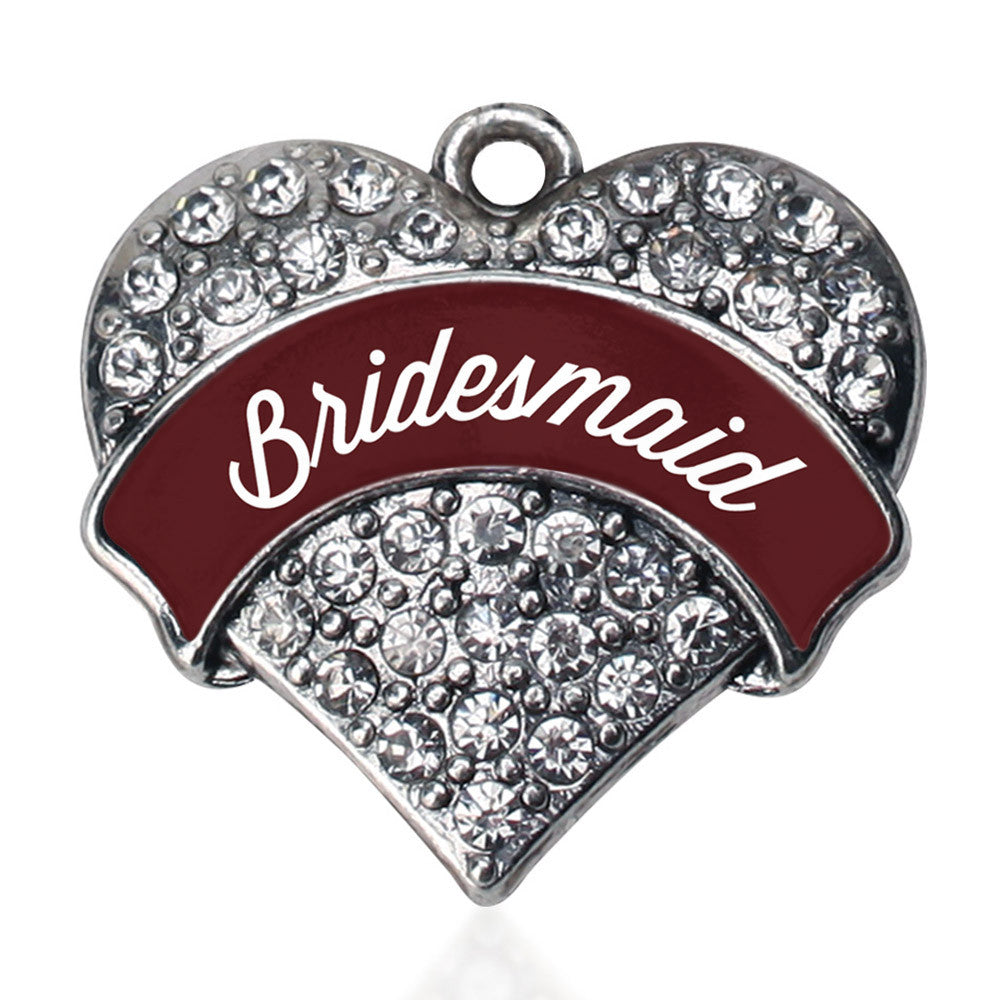 Burgundy Bridesmaid Pave Heart Charm
