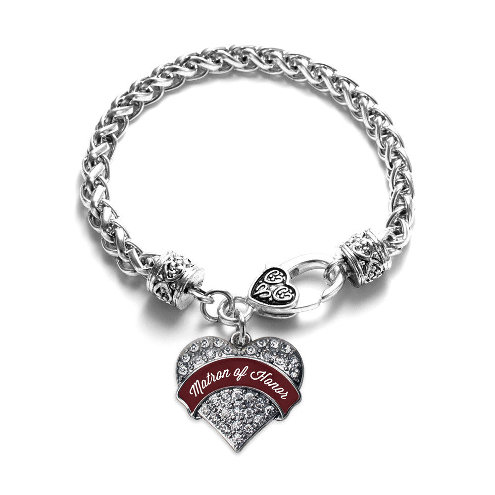 Burgundy Matron of Honor Pave Heart Charm