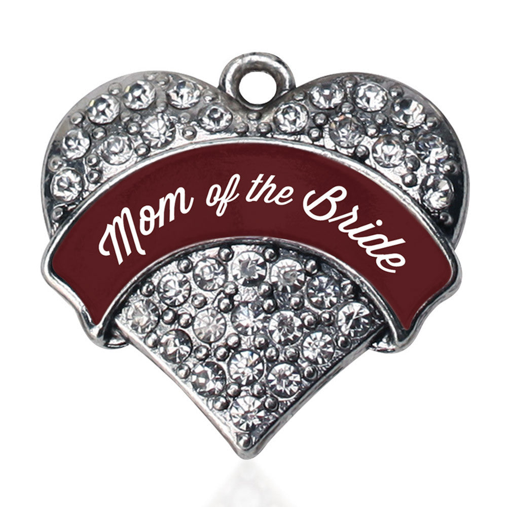 Burgundy Mom of the Bride Pave Heart Charm