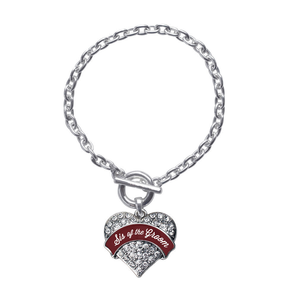 Burgundy Sis of the Groom Pave Heart Charm