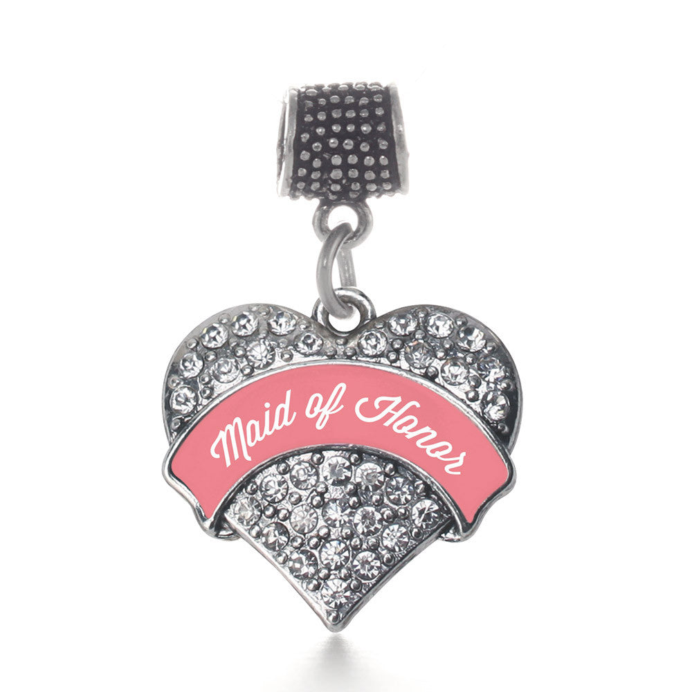 Coral Maid of Honor  Pave Heart Charm
