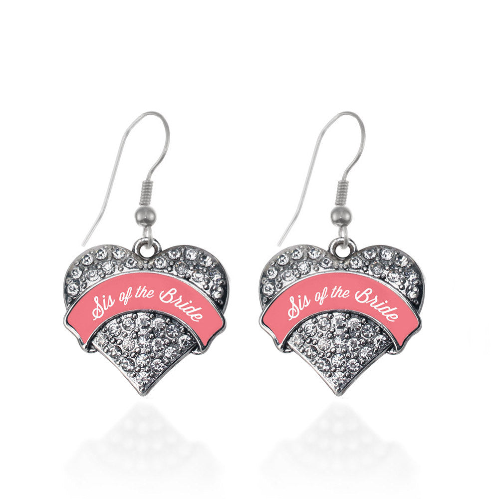 Coral Sis of Bride Pave Heart Charm